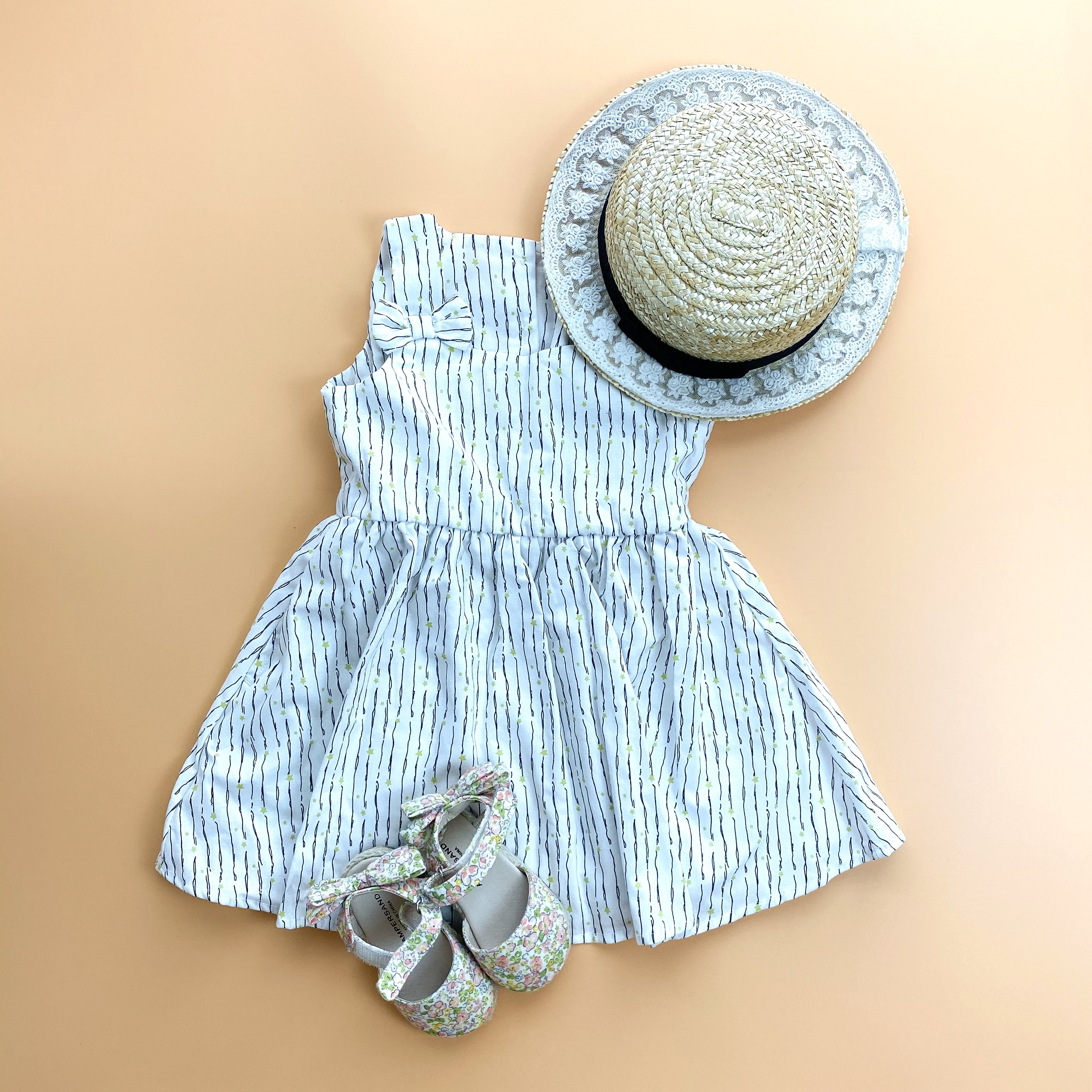 【KIDS】cotton summer dress with bows【FINAL SALE】