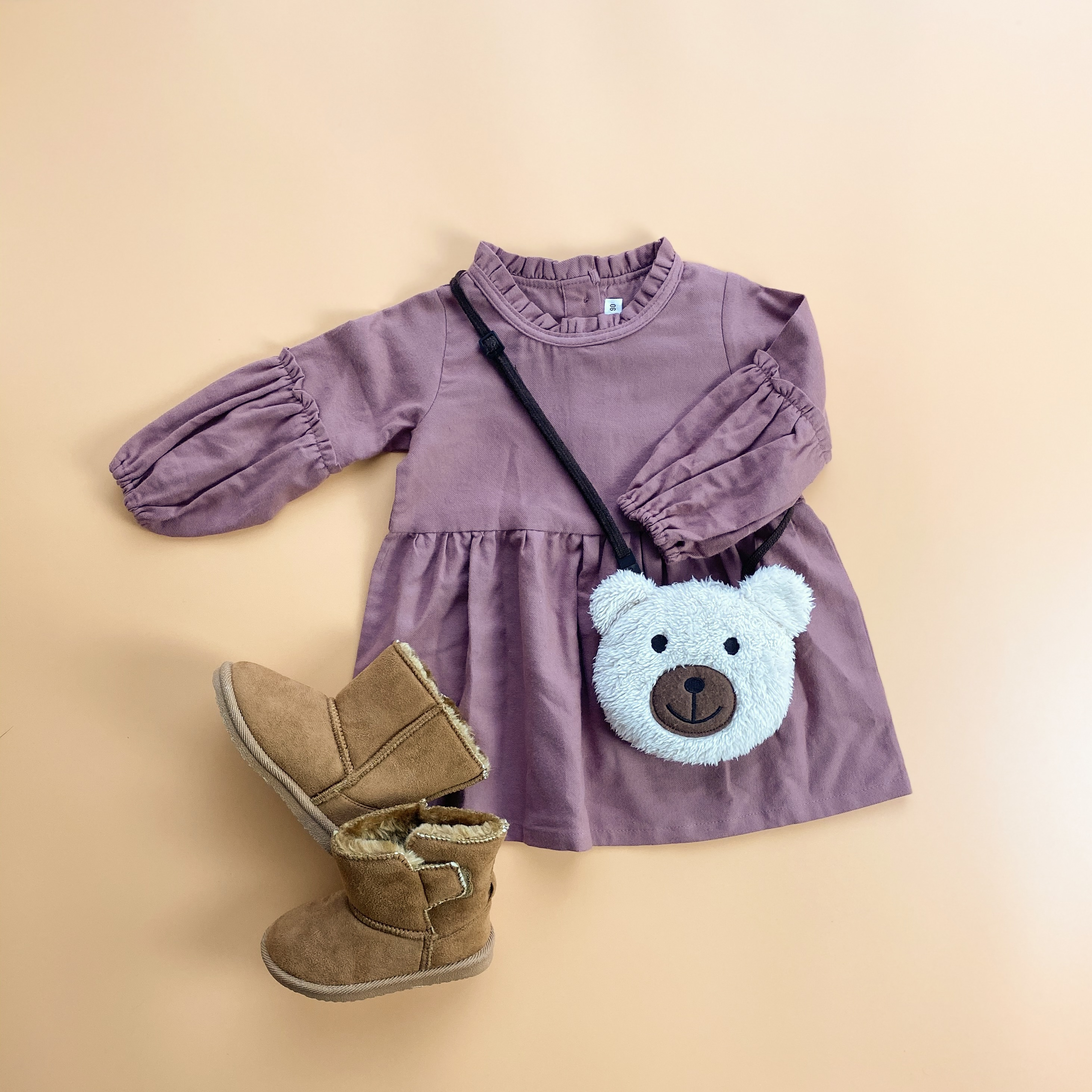 【KIDS】frill neck and sleeve dress